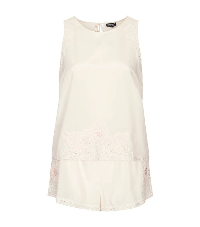 Topshop Embroidered Cami and Shorts ($56) in Cream  We love the light pink detailing on this summery pajama top and shorts.
