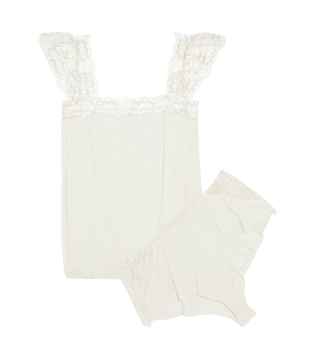 Eberjey Golden Girl Metallic Lace-Trimmed Jersey Pajama Set ($120)  Celebrate your night wearing this loose-fit lace set.