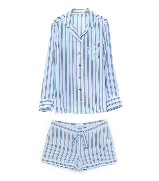 For The Girls: Equipment Lillian Pajama Set ($385)in Periwinkle Blue  This striped silk set is sure to make you the chicest friend of the night.