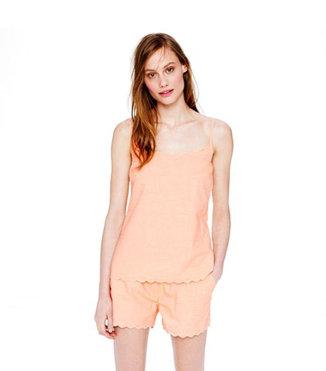 J Crew Scalloped Pajama Short Set ($65) in Ripe Persimmon