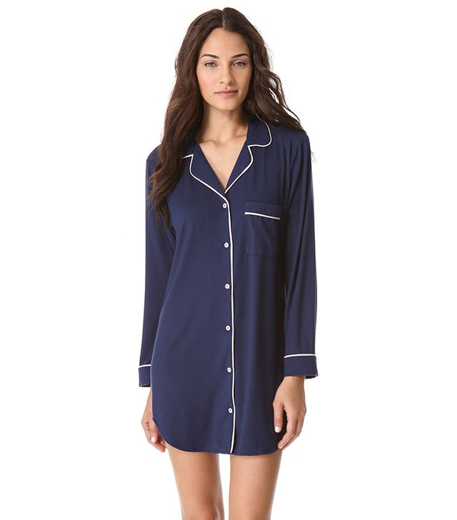Eberjey Gisele Sleep Shirt ($385) in Navy  Try out a cozy oversized nightshirt!