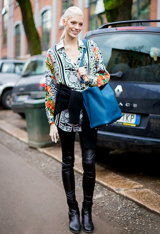 7. Extra Long Shirt + Leather Leggings + Colorful Bag