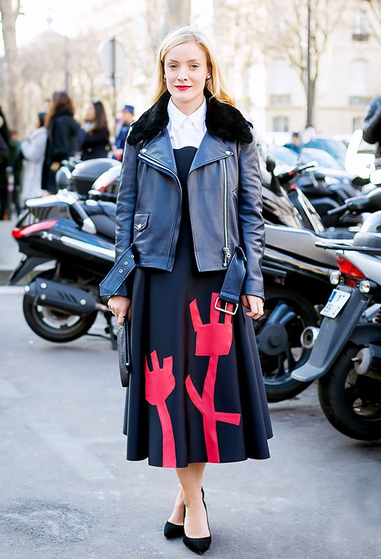9. Buttoned Up Shirt + Strapless Dress + Moto Jacket