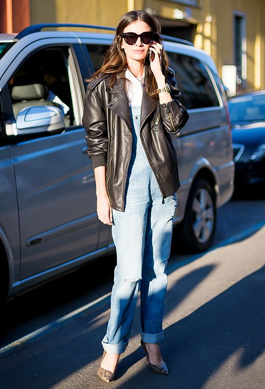 10. Overalls + Printed Pumps + Moto Jacket