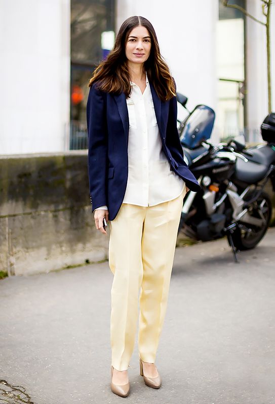 11.  Untucked White Shirt + Navy Blazer + Cream Trousers