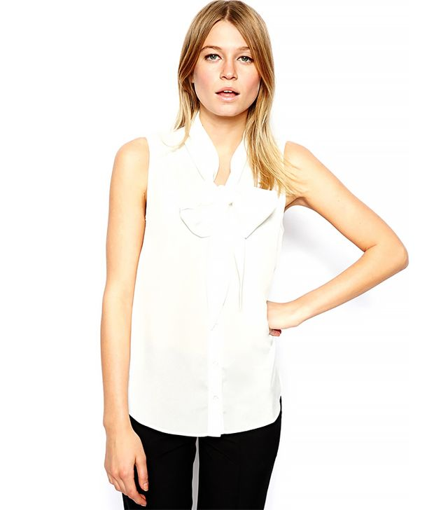 Asos Sleeveless Blouse With Drop Pussybow and Pintuck ($42) in Ivory