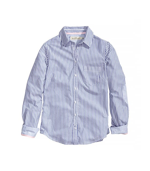 H&M Cotton Shirt ($30) in Blue/Striped