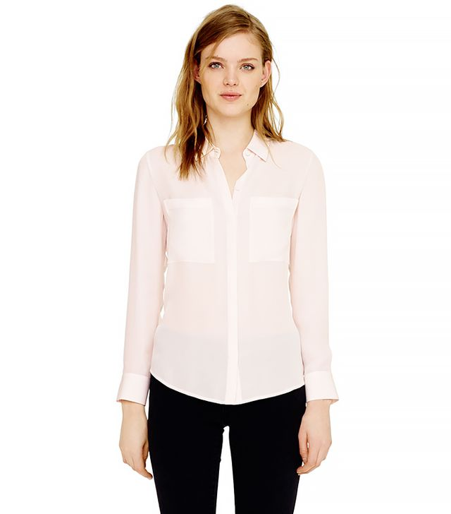 Club Monaco Diana Shirt ($130) in Pale Pink With White 