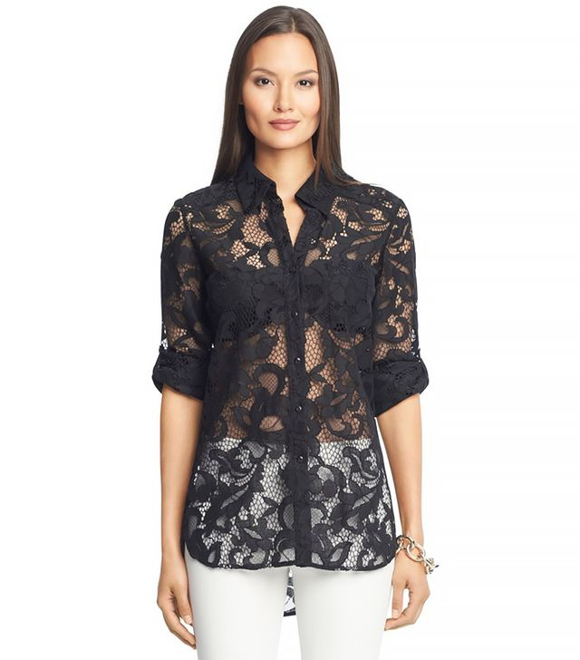Diane von Furstenberg Lorelei Two Lace Blouse ($298) in Black