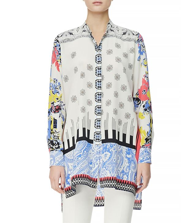 Etro Button-Down Deco Dot & Floral Tunic ($885) in Blue Gold