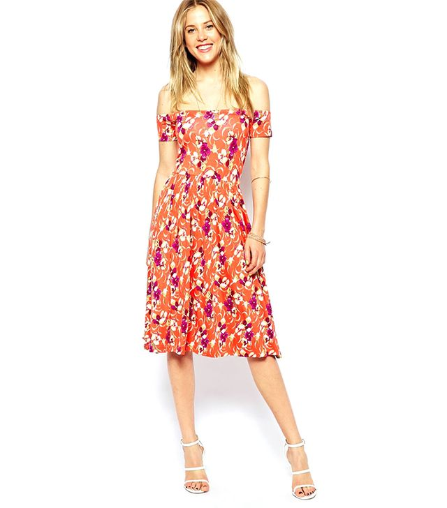 ASOS Midi Bardot Dress in Floral Print ($53)