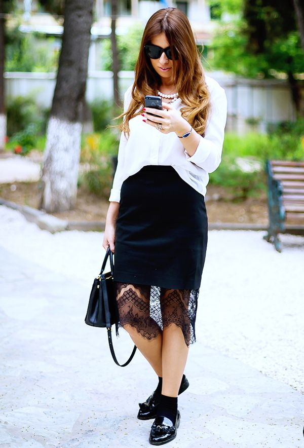 Ankle socks and loafers make a killer pairing, especially with a lace pencil skirt.