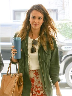 Jessica Alba Proves The Army Jacket Is A Perfect Summer Layer