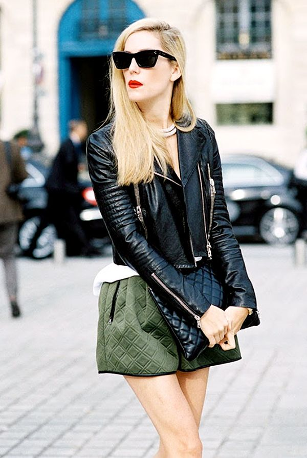 Tip #10: Try this sleek ensemble for your next GNO. Style your short shorts with a leather moto jacket, and accessorize with a simple clutch, chunky choker, and of course, red lipstick!