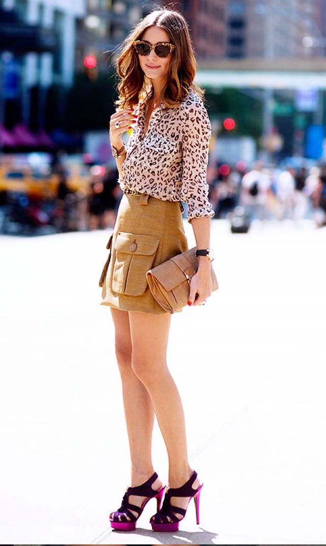 Tan leopard tan skirt