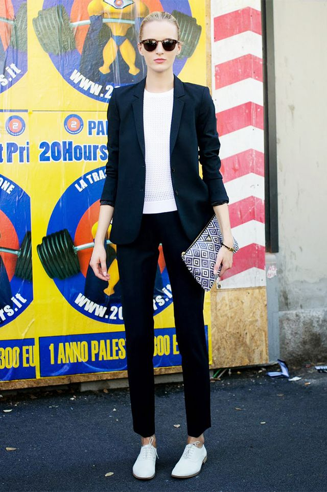 Slim Back Suit + White Tee + Oxfords