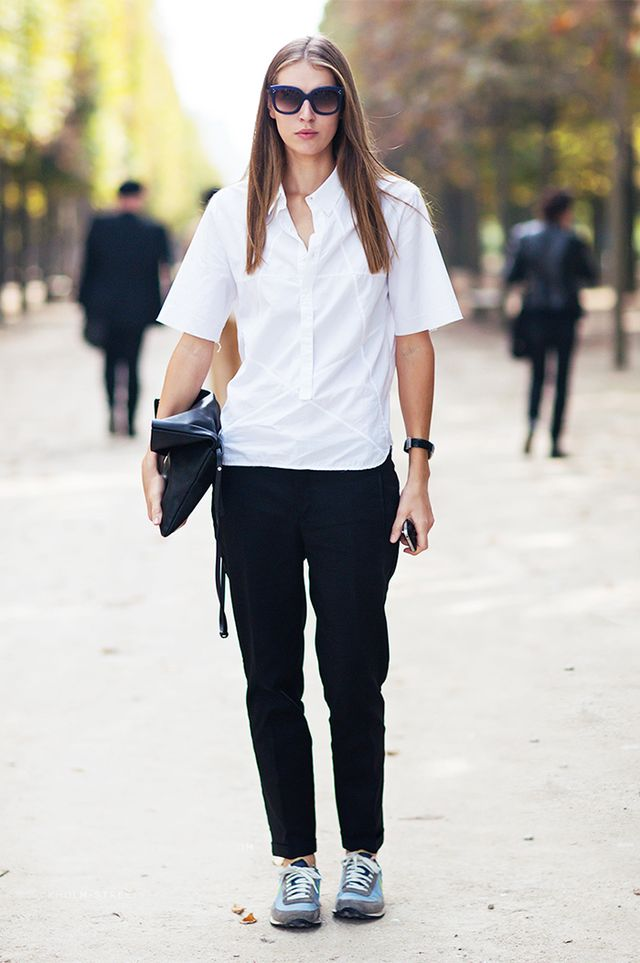 Crisp White Shirt + Slouchy Pants + Trainers
