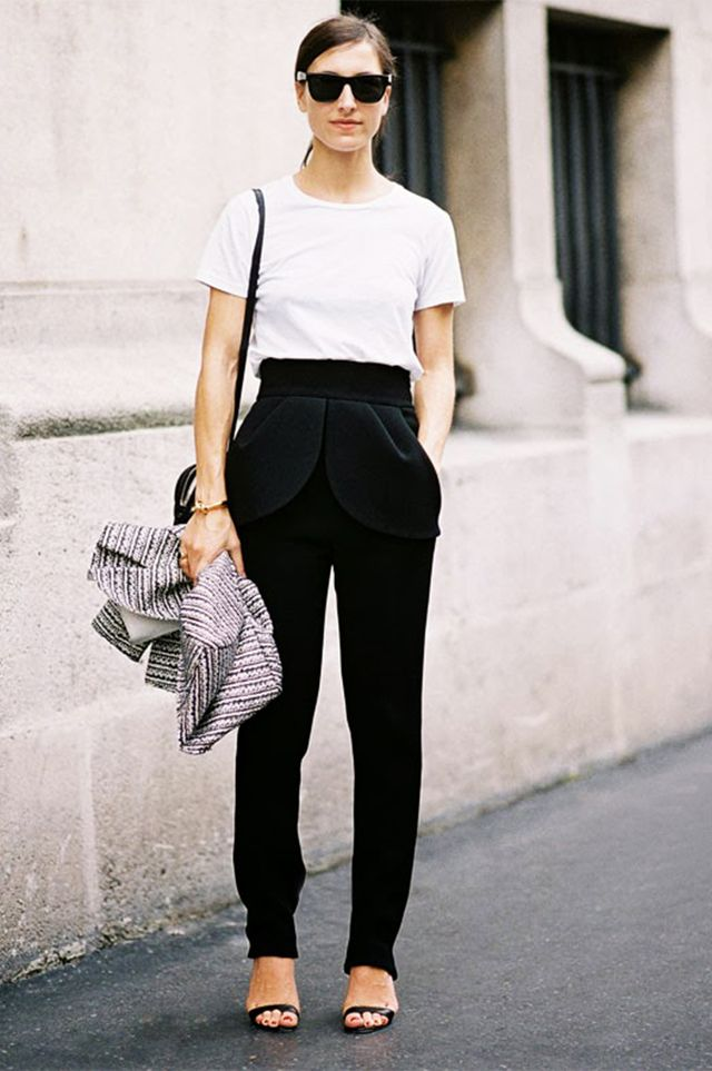 White Tee + Slouchy Trousers + Strappy Sandals