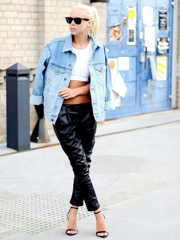 Create a balanced look by wearing a crop top under your jacket. ?On Victoria Törnegren of Victoria Törnegren: ASOS denim jacket; Topshop top; Choies pants; Zara shoes.