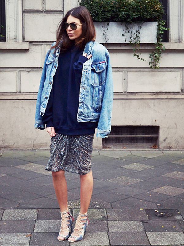 You can get away with wearing your fancy pieces for daytime. Simply top them with a denim jacket! On Maja Wyh of Maja Wyh: Diesel jacket; Fruit Of The Loom shirt; Isabel Marant For H&M skirt;...