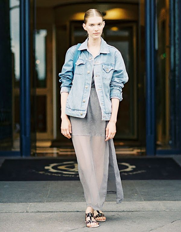 A denim jacket brings a gauzy maxi dress down to earth.