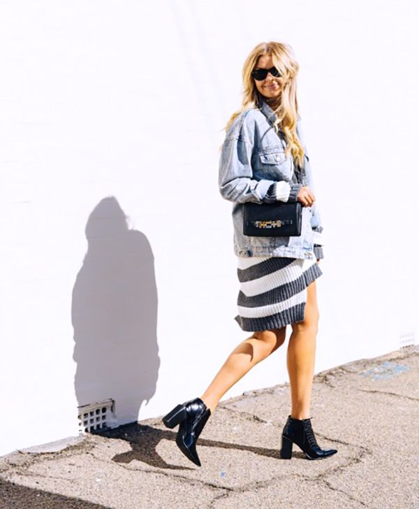 Who says you can't layer in the summer? An oversized denim jacket over a chunky knit dress—yes please!