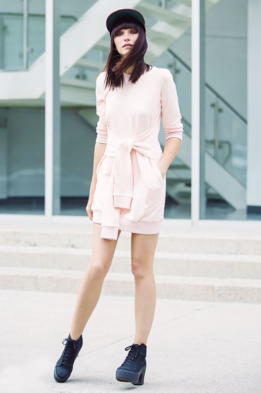 Get the Look: Clu Pleated Sweatshirt Dress ($220)