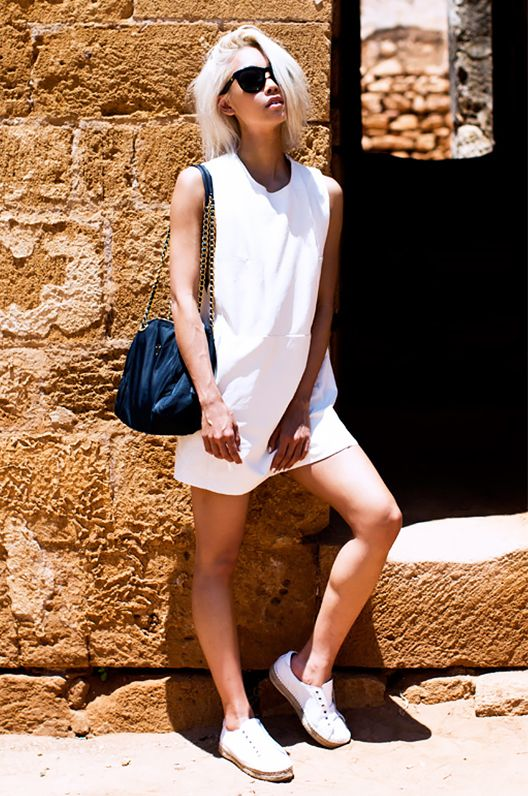 Get the Look: VEDA Coco Dress($596) in White Leather