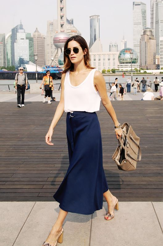 Get the Look: Splendid Full Skirt ($88) in Navy