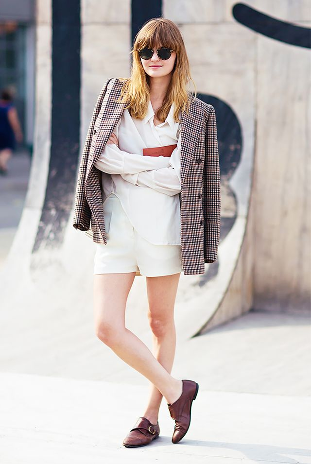 Plaid Blazer + All-White Staples + Monk-Strap Flats = Cool-Girl Summer Outfit