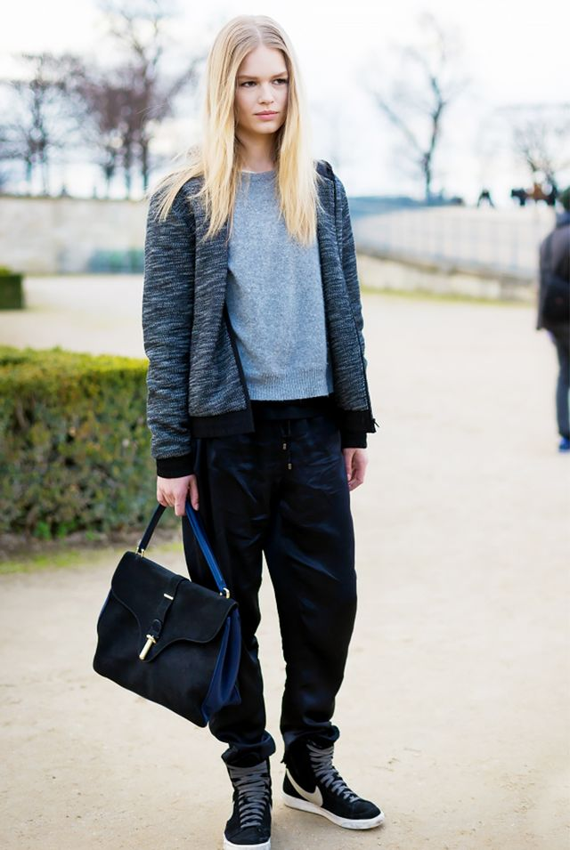 Hoodie + Slouchy Pants + Luxe Satchel = Comfortable, Yet Chic