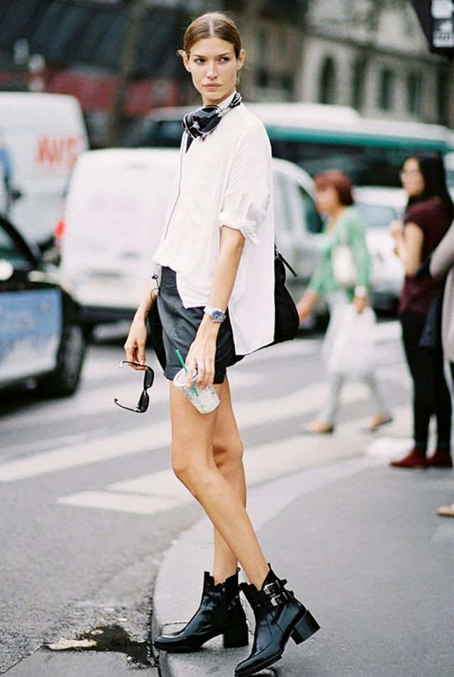 White Button-Down Shirt + Leather Shorts + Combat Boots = Model Off-Duty Cool