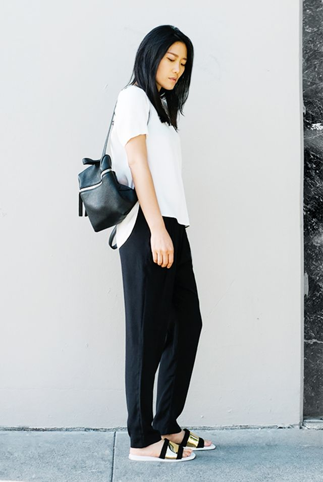 Black and White Essentials + Metallic Sliders + Backpack = Chic Accessories Are Everything