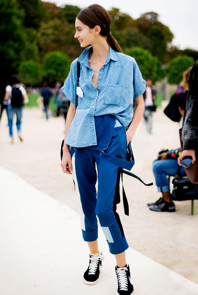 Chambray Button-Down Shirt + Undone Overalls + Sleek Ponytail = Tomboy, The Cute Way