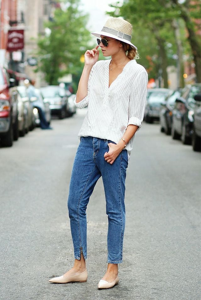 Slouchy Shirt + Skinny Boyfriend Jeans + Hair Tucked Up = Tomboy, The Sexy Way