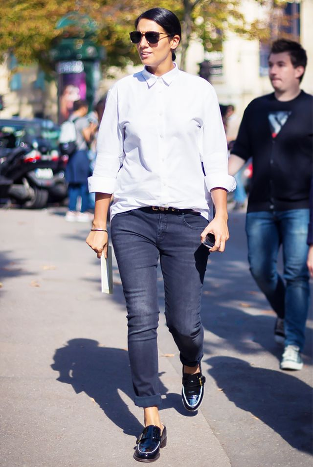 Button-Down Shirt + Rolled Skinny Jeans + Buckled Loafers = Tomboy Minimalism