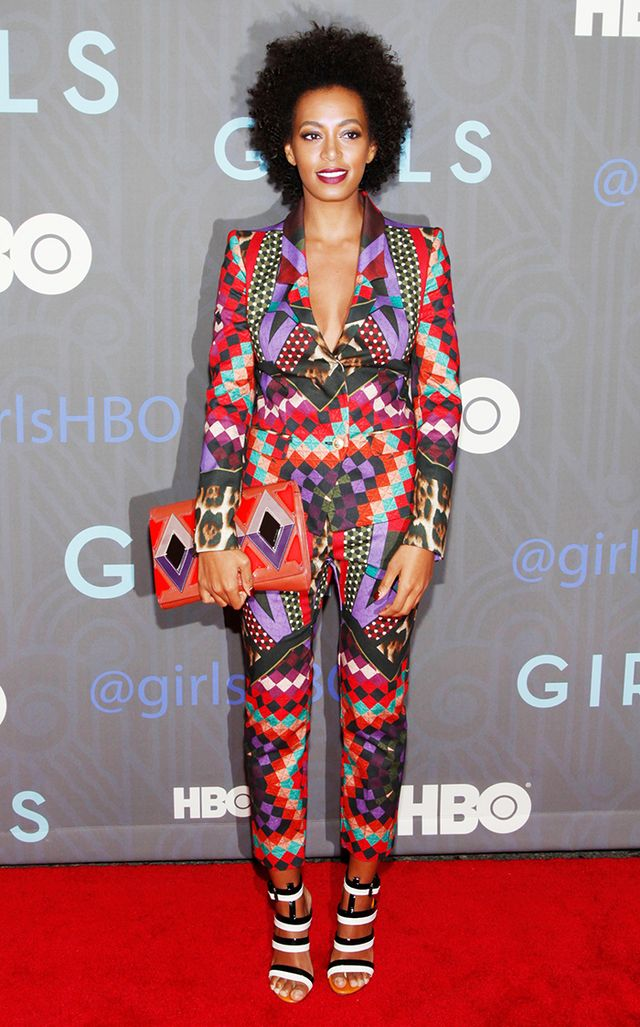 For the 2013 premiere of HBO's Girls in New York, Knowles wore a very statement-making printed suit from Just Cavalli.