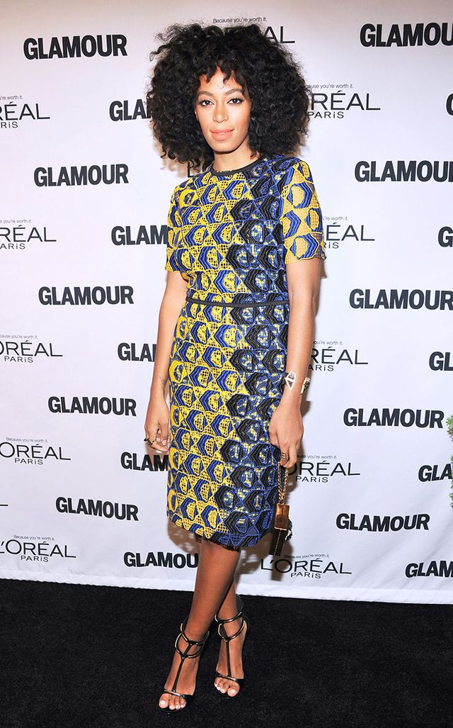 For Glamour's 2012 Women of the Year awards, Knowles went for a more feminine take on color blocking in Derek Lam's lace guipure dress.