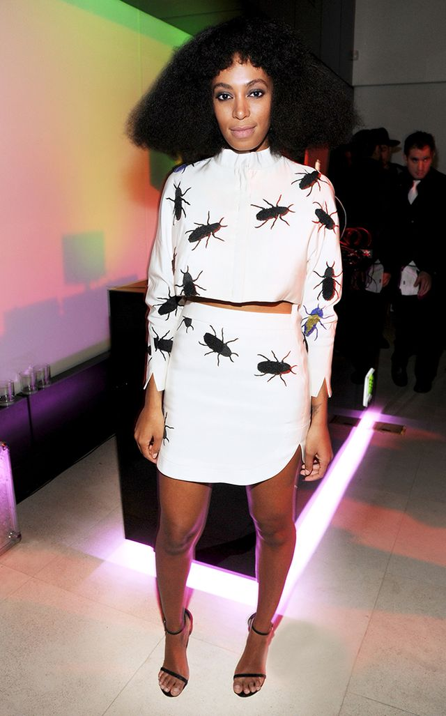 During a pre-Grammy party, Knowles made a vaguely creepy (but decidedly awesome) statement in this bug-covered print from Azede Jean-Pierre's S/S 2014 collection.