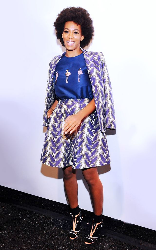 A staunch lover of a wistful print, Knowles reached for a playful flamingo pattern at Noon by Noor's S/S 2014 runway show during New York Fashion Week, wearing a look from the...