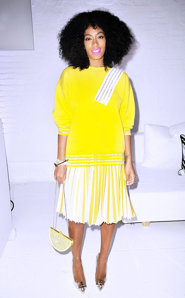 For the 2014 launch of Q&Q Watches in New York, Knowles wore an unapologetically bright yellow look from Christopher Kane.