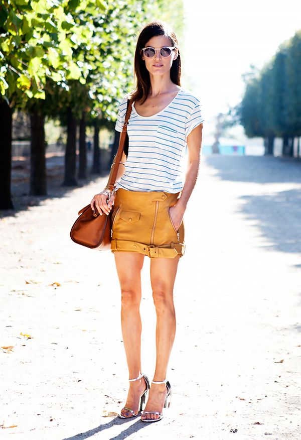 Casual T-Shirt + Leather Mini Skirt