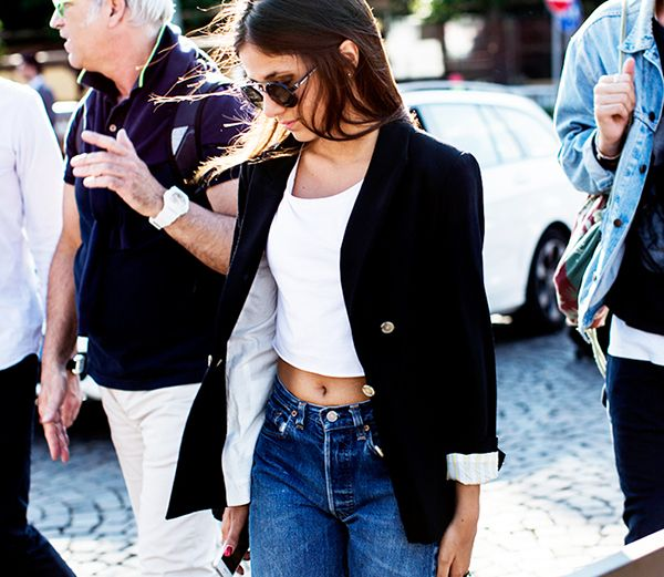 Crop Top + Oversized Blazer
