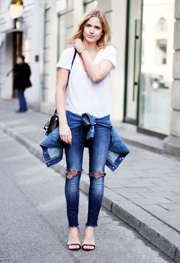 White V-Neck Shirt + Distressed Skinny Jeans