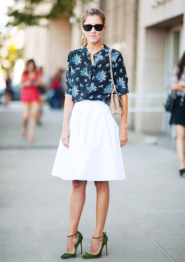 Go for a floral blouse in a dark sophisticated shade.