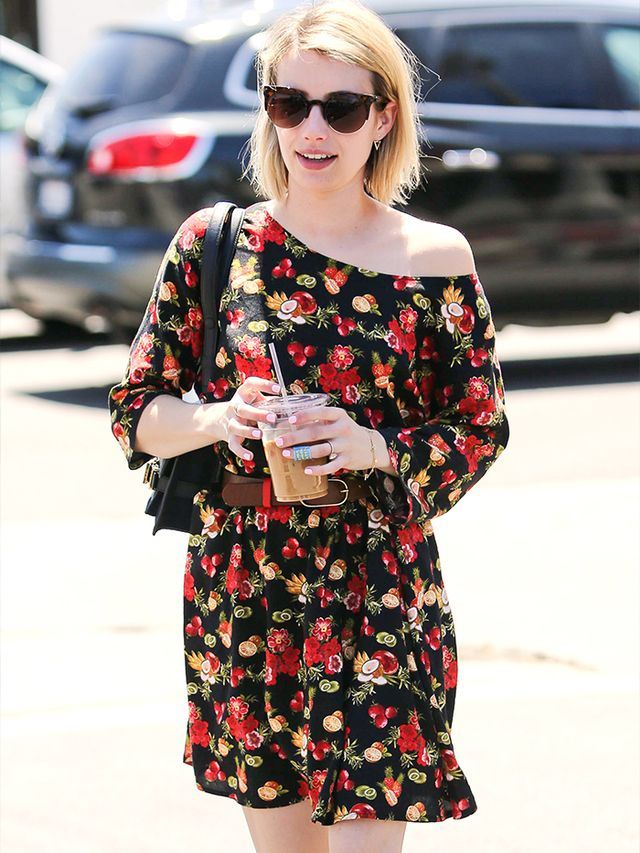 Lesson 1: A moody floral dress makes for the perfect casual-cool look.