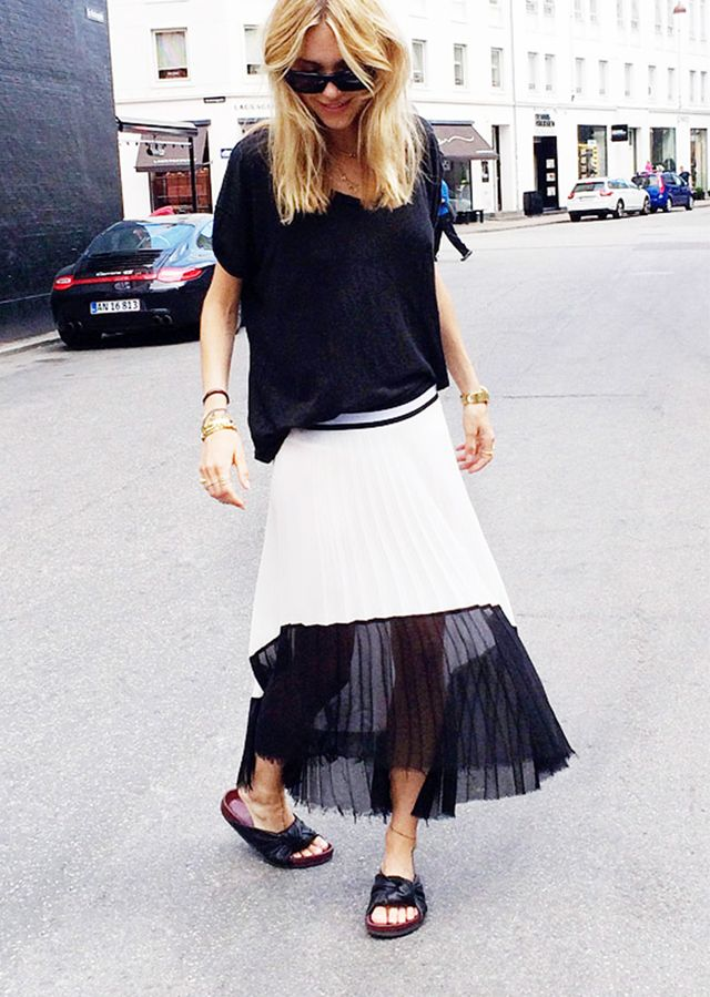Slouchy Tee + Pleated Midi + Leather Slides