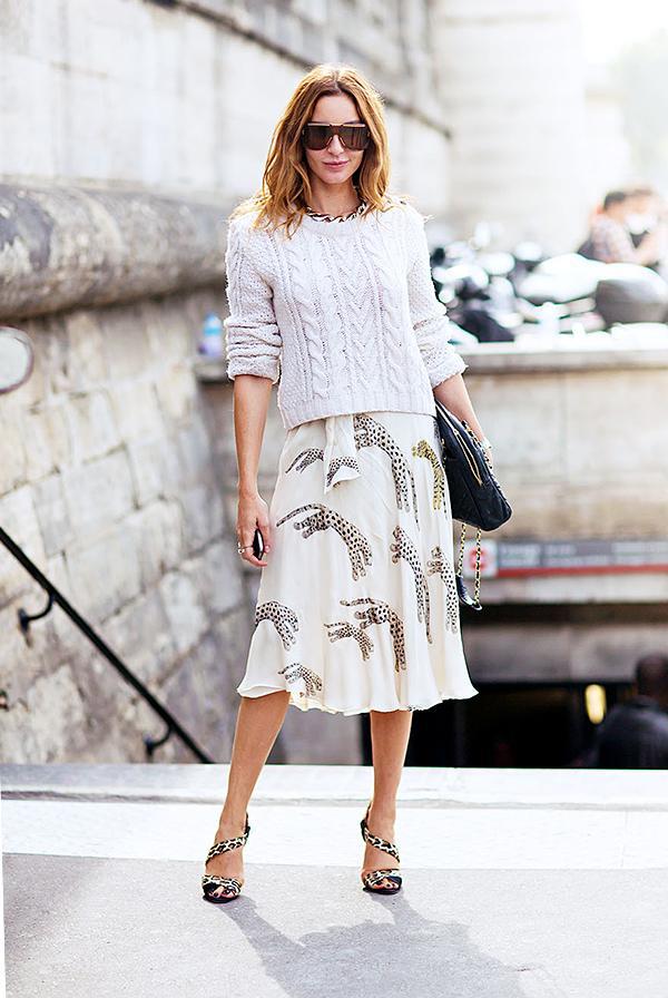 Knit Sweater + Loose Midi Skirt