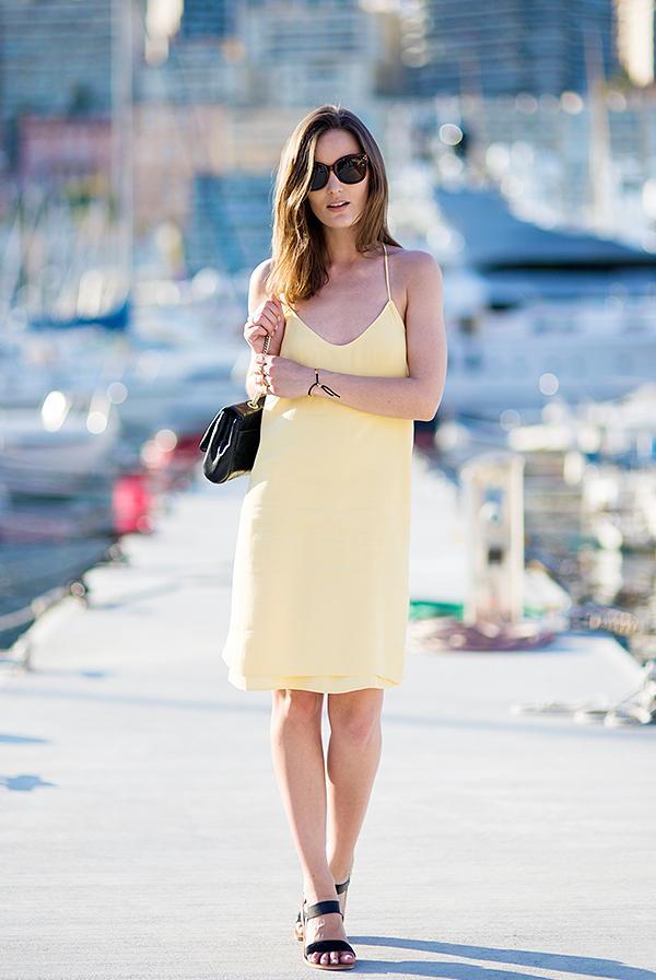 Slip Dress + Flat Sandals