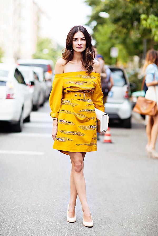 Off-The-Shoulder Dress + Nude Heels